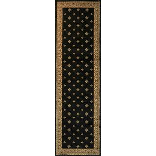 Dallas Formal European Floral Border Diamond Field Black, Beige, and Ivory Runner Rug (2'3 x 7'3)