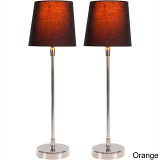 Filament Hand Assembled Metal Table Lamps (Set of 2) (Option: Orange/Black)
