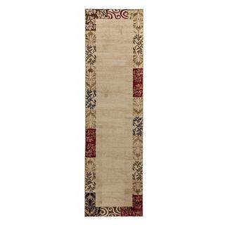 Vane Willow Damask Floral Border Ombre Gradient Beige, Red, Brown, and Ivory Runner Rug (2'3 x 7'3)