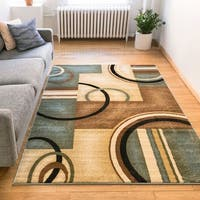 "Generations Modern Abstract Geometric Circles Light Blue, Beige, Ivory, and Brown Area Rug - 3'11"" x 5'3"""