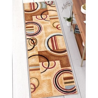 Arcs and Shapes Modern Abstract Geometric Ivory, Beige, Brown, Blue and Red Runner Rug (2'3 x 7'3)