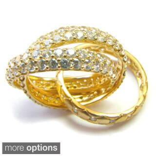 Sonia B Gold Plated Sterling Silver Cubic Zirconia Mon Ami Rolling Ring