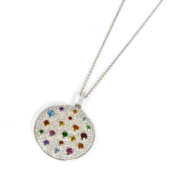 Sonia B Platinum Plated Sterling Silver Multi gemstone Pendant Necklace Fre
