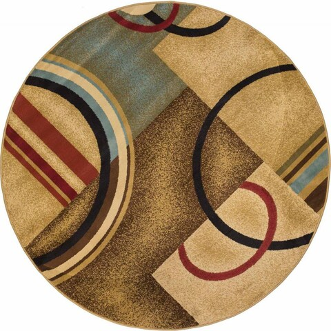 Well Woven Arcs and Shapes Modern Abstract Geometric Ivory, Beige, Brown, Blue and Red Round Rug - 5'3