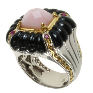Michael Valitutti Two-tone Gold Over Silver Pink Opal, Black Agate and Pink Sapphire Ring