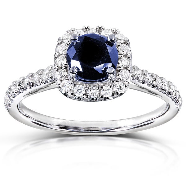 Annello by Kobelli 14k White Gold 1/4ct TDW Diamond and Blue Sapphire Halo Ring (G-H, I1-