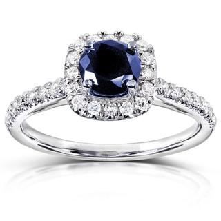 Annello 14k White Gold 1/4ct TDW Diamond and Blue Sapphire Halo Ring (G-H, I1-I2)
