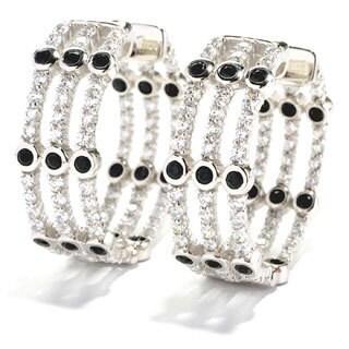 Sonia B Sterling Silver Black Spinel Column Hoop Earrings