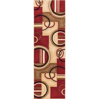 """Well Woven Arcs Shapes Geometric Abstract Modern Red Ivory Beige Runner Rug - 2'3"""" x 7'3"""""""