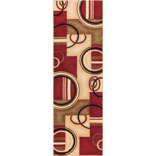 Arcs and Shapes Geometric Abstract Modern Circles and Boxes Red, Ivory, and Beige Runner Rug (2'3 x 7'3)