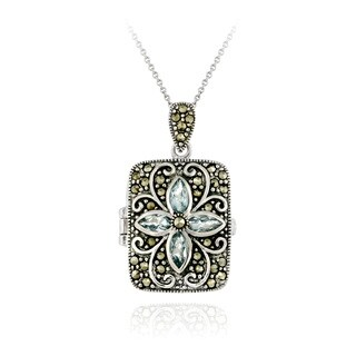 Glitzy Rocks Blue Topaz and Marcasite Locket Necklace