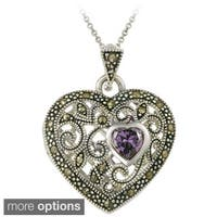 Glitzy Rocks Gemstone and Marcasite Heart Locket Necklace
