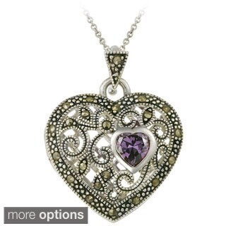 Glitzy Rocks Gemstone and Marcasite Heart Locket Necklace