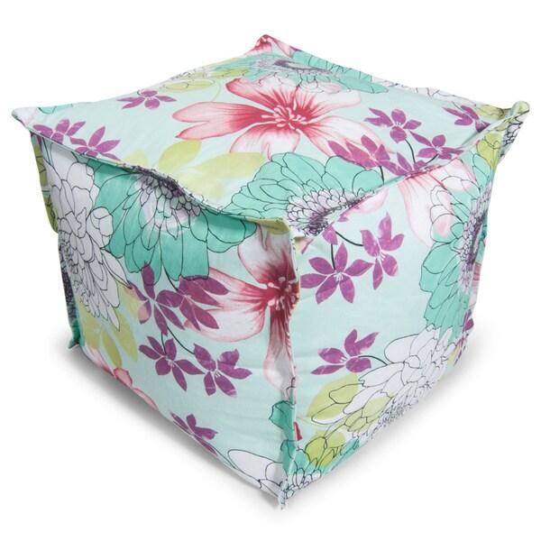 BeanSack Watercolor Floral Print Bean Bag Ottoman