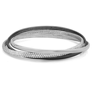 Sterling Essentials Two Tone Silver 7 inch Pave CZ Black & White Bangle Set