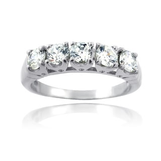 Icz Stonez Sterling Silver 3 3/4ct TGW Cubic Zirconia Half Eternity Ring