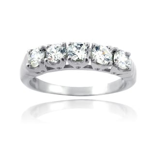 Icz Stonez Sterling Silver 1 4/5ct TGW Cubic Zirconia Half Eternity Ring