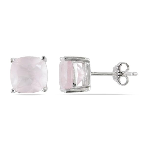 Miadora Sterling Silver 4 1/2ct TGW Rose Quartz Solitaire Earrings