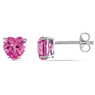 Miadora 10k White Gold Created Pink Sapphire Stud Earrings
