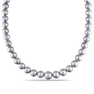Miadora Signature Collection 14k White Gold Tahitian Pearl and Diamond Accent Necklace (9-13 mm)