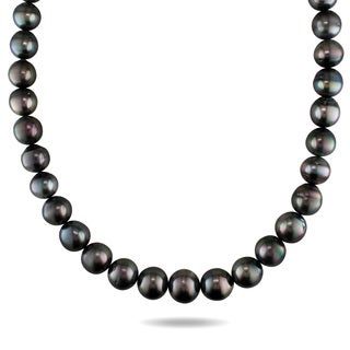 Miadora Signature Collection 14k White Gold Black Tahitian Pearl and Diamond Accent Necklace (11 - 14 mm)