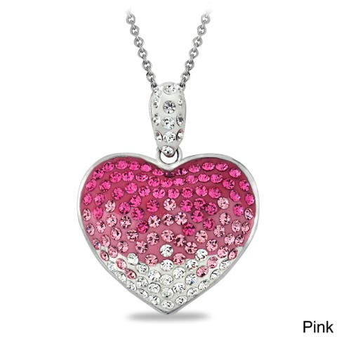 Crystal Ice Crystal Heart Necklace with European Crystals
