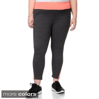 90 Degree by Reflex Women's Plus Size Zip Pocket Waistline Yoga Capri Pants