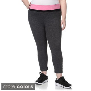 90 Degree by Reflex Women's Plus Size Shirred Leg Yoga Capri Pants