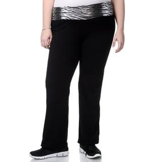 90 Degree by Reflex Women's Plus Size Zebra Waistband Yoga Pants