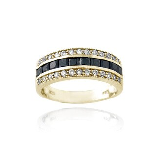 Icz Stonez Gold Over Silver Black Cubic Zirconia Ring