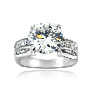 ICZ Stones Sterling Silver 7 3/5ct TGW Cubic Zirconia Bridal Engagement Ring
