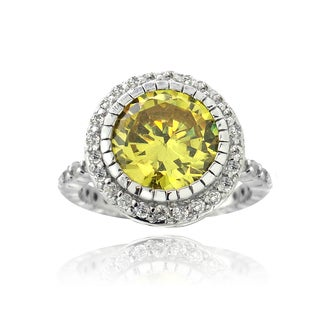 ICZ Stonez Sterling Silver 6ct TGW Yellow Cubic Zirconia Cocktail Ring