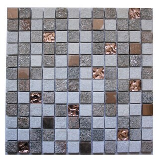 mixed stone metal and glass 1175inch square wall tiles