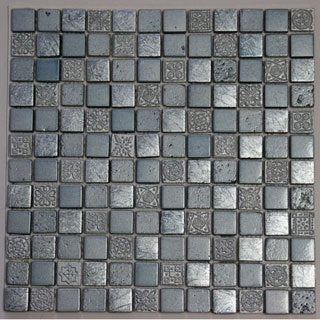 Silver Blue Engraving Mosaic Stone 11.75-inch Square Wall Tiles
