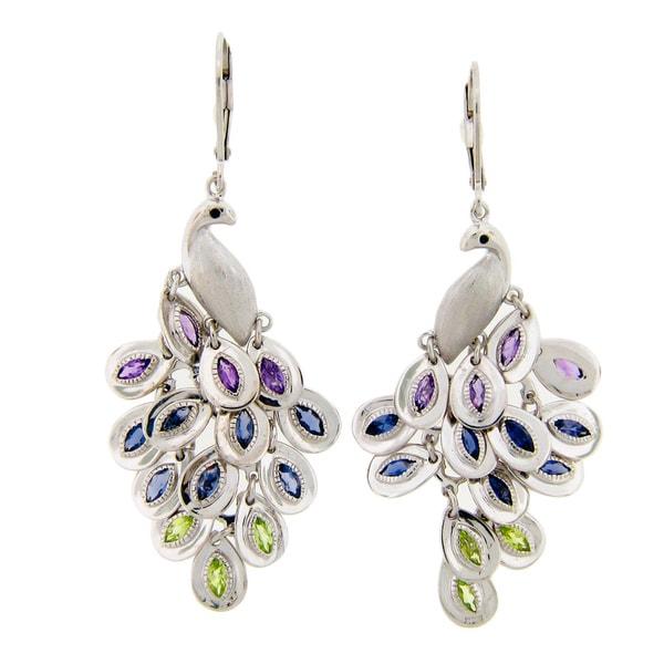 Meredith Leigh Sterling Silvre Multi-gemstone Peacock Earrings