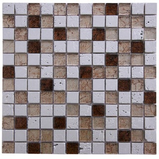 Silver Stone and Brown Glass 11.75-inch Square Wall Tiles