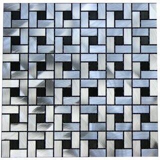 Black and Silver Aluminum 12-inch Square Wall Tiles