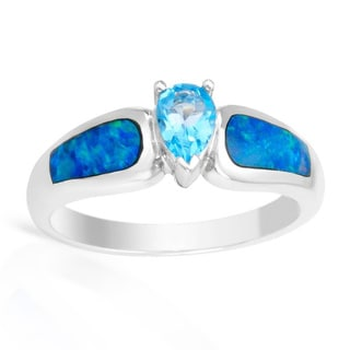 14k White Gold Pear-cut Blue Topaz Ring