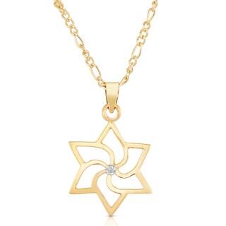 Classic Gold Pinwheel Star Of David Diamond Stud Pendant Necklace