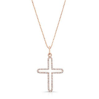 Victoria Kay 14k Rose Gold 1/6ct TDW Diamond Cross Necklace