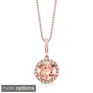 14k Rose Gold 1/10ct TDW White Diamond and Halo Morganite Pendant Necklace (J-K, I1-I2)