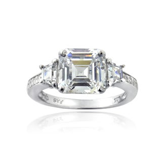 ICZ Stones Sterling Silver 6 3/4ct TGW Ascher-cut Cubic Zirconia Bridal Engagement Ring