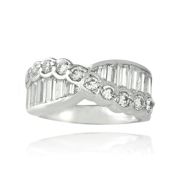 ICZ Stonez Sterling Silver 3 1/3ct TGW Cubic Zirconia Eternity Ring. Opens flyout.