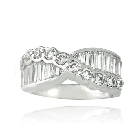 ICZ Stonez Sterling Silver 3 1/3ct TGW Cubic Zirconia Eternity Ring
