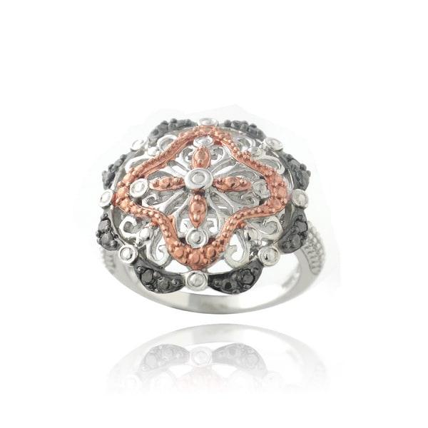 DB Designs Tri-color 1/10ct Black Diamond Filigree Flower Ring