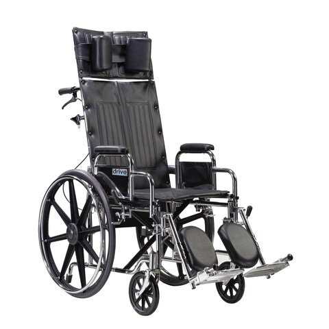 Drive Medical Sentra Reclining Wheelchair with Detachable Desk Arms, and 22-inch Seat