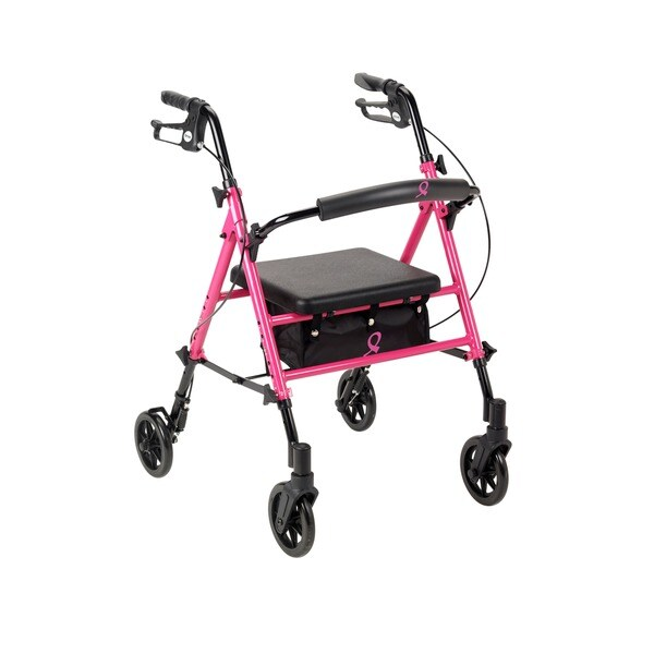 Breast Cancer Awareness Adjustable Height Pink Rollator