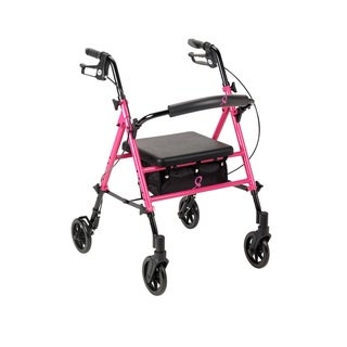 Drive Medical Breast Cancer Awareness Adjustable Height Rollator Rolling Walker, Pink