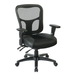 Office Star Progrid Black Leather and Mesh/ Seat Managers Chair