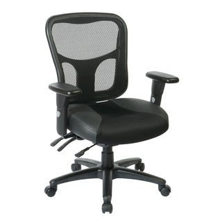 High-Back Office Chair with Leather and Mesh Seat,